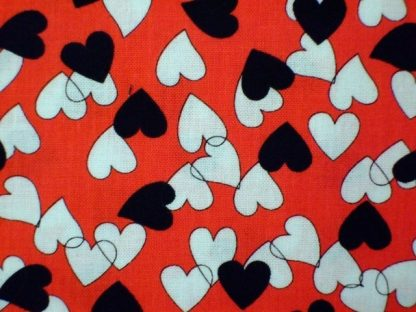 BLACK & WHITE HEARTS COTTON FABRIC by EBOR - RED -