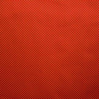 COTTON POPLIN FABRIC -  WHITE SPOTS ON RED  -
