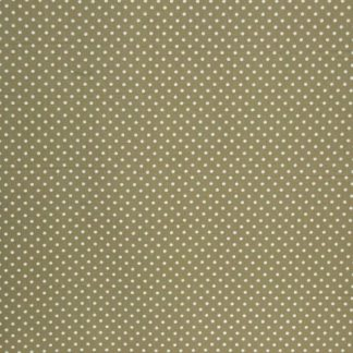 COTTON POPLIN FABRIC -  WHITE SPOTS ON GREEN  -