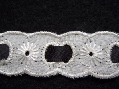 IVORY EMBROIDERY ANGLAIS LACE DOUBLE EDGE with BLACK RIBBON 20mm/3/4'' wide ( per meter)