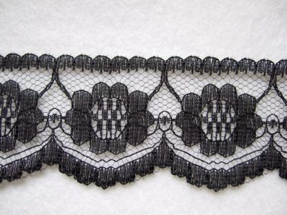BLACK LACE EDGING 35mm/1.25'' wide polyester (per metre)