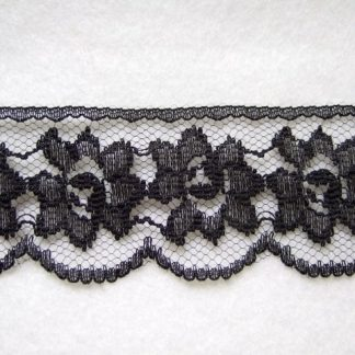 BLACK LACE EDGING 40mm/1.5'' wide polyester (per metre)