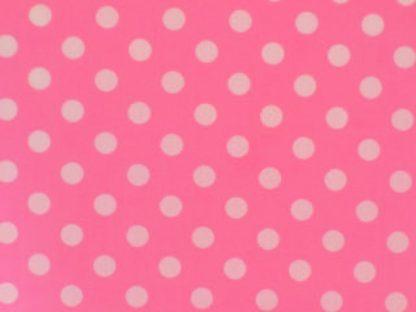 POLY/COTTON PRINT FABRIC - MEDIUM  WHITE SPOTS ON  PINK-