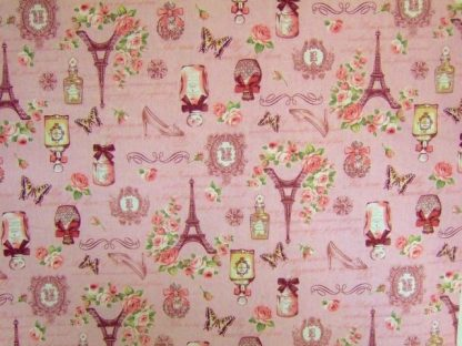 VINTAGE COLLAGE by COSMO TEXTILE CO COTTON/LINEN - PINK/MULTI  -