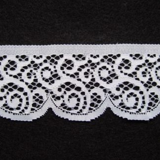 WHITE POLYESTER LACE 50mm/2''  wide  (per meter)