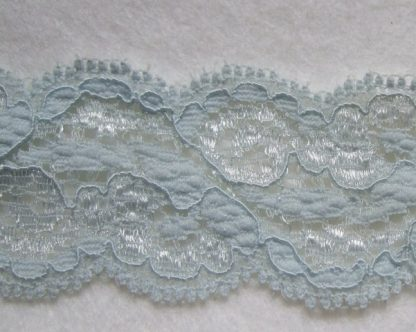 POWDER BLUE POLYESTER STRETCH LACE 40mm/1.5''  wide  (per meter)