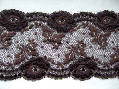 BROWN LACE EDGING 150mm/6'' wide polyester (per metre)