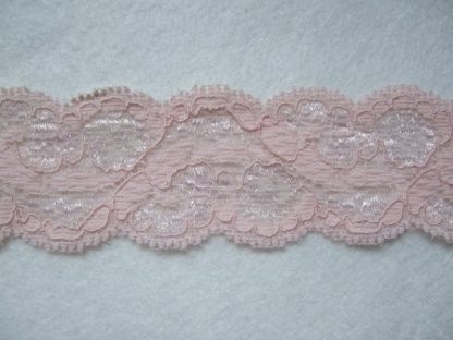 POWDER PINK POLYESTER STRETCH LACE 40mm/1.5''  wide  (per meter)