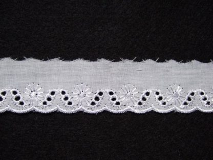 EMBROIDERY ANGLAIS LACE EDGING 25mm/1'' wide  WHITE per meter