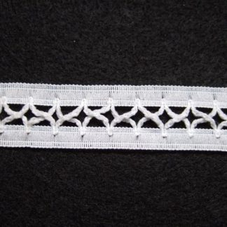 WHITE CRISS CROSS  POLYESTER  LACE 20mm/3/4''  wide  (per metre)
