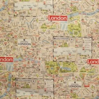 LONDON MAP heavier weight fabric by TEXTILES VILBER - BEIGE -