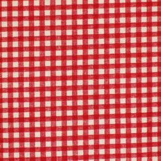 LINEN LOOK COTTON  FABRIC  by JOHN LOUDEN  CHECKS -  RED/CREAM -