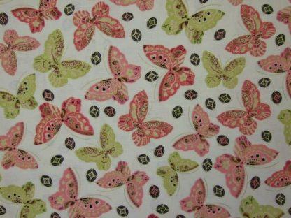 SAKURA BUTTERFLY by GRETA LYNN for KANVAS - PINK & GREEN ON CREAM -