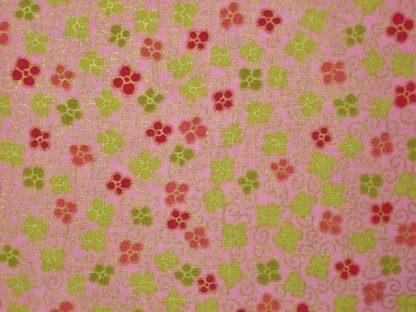 SAKURA FLOWER by GRETA LYNN for KANVAS - DARK PINK AND GREEN ON PINK  -