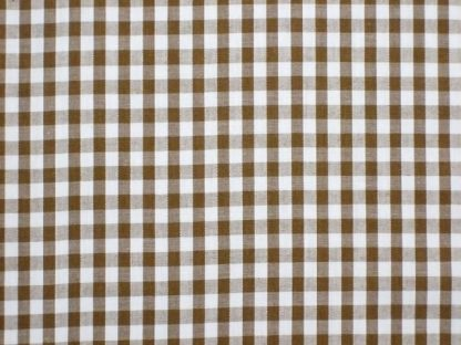 POLY/COTTON 1/4'' CORDED GINGHAM FABRIC -BROWN -