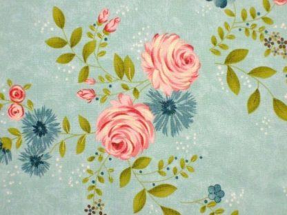 RAMBLING ROSE by SANDY GERVAIS for MODA - AQUA -