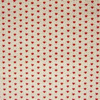 MINI HEARTS MEDIUM WEIGHT FABRIC - IVORY/RED -