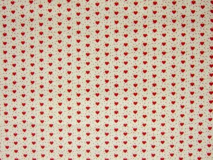 MINI HEARTS MEDIUM WEIGHT FABRIC - IVORY/RED -