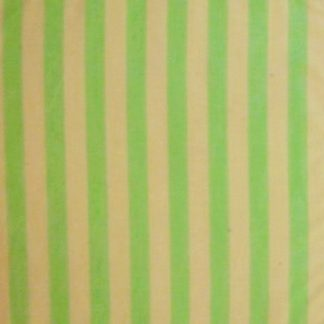 POLY/COTTON PRINT FABRIC CREAM AND MINT 15mm STRIPE