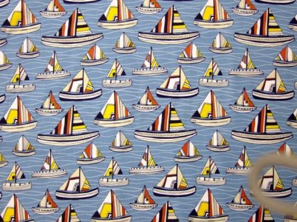 BESIDE THE SEASIDE  by FABRIC FREEDOM - MULTI ON BLUE - -