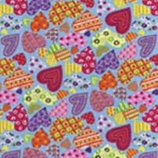 FUNKY  HEARTS by JOHN LOUDEN    MULTI ON BLUE