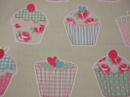 CUP CAKES- HEAVIER WEIGHT COTTON FABRIC - NATURAL LINEN -