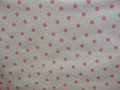 POLKA DOT heavier weight  fabric -PINK SPOTS ON CREAM