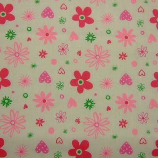 POLY/COTTON PRINT FABRIC- RETRO FLORAL- PINK ON CREAM