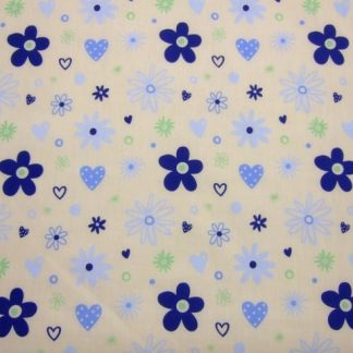 POLY/COTTON PRINT FABRIC- RETRO FLORAL- BLUE ON CREAM