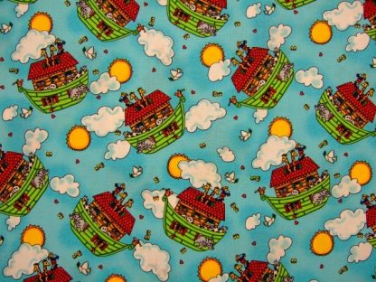 2X2 NOAH'S ARK by FABRI QUILT-TURQUOISE/ MULTI