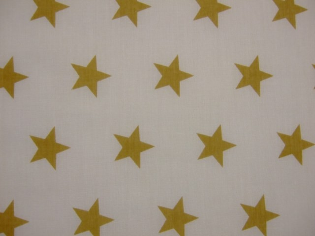 POLY/COTTON PRINT FABRIC -GOLD STARS- ON WHITE