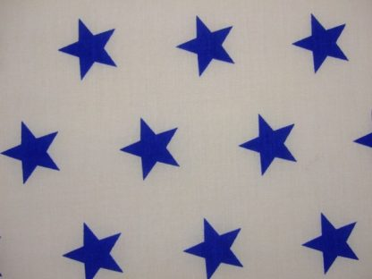POLY/COTTON PRINT FABRIC -BLUE STARS ON WHITE