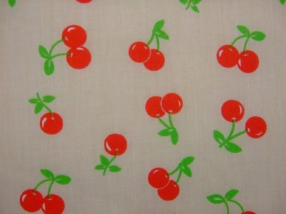 POLY/COTTON PRINT FABRIC -RED CHERRIES ON CREAM