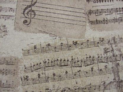 BOLERO VALDES. VINTAGE MUSIC.  LINEN LOOK DOUBLE WIDTH FABRIC - BEIGE -
