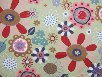 RETRO PRINT FLOWERS for JOHN LOUDEN.  SOFT GREEN