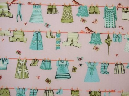 VINTAGE WASH DAY  by PETER HORTON TEXTILES - AQUA ON PINK -