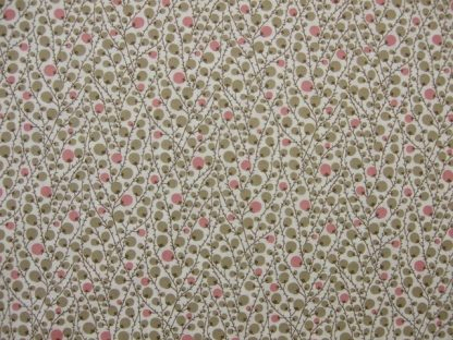 BERRY TWIG by PETER HORTON TEXTILES - BEIGE & PINK ON CREAM