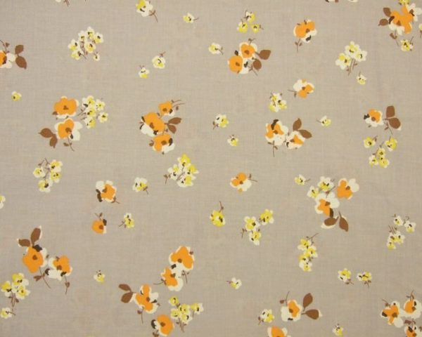 RETRO FLORAL CHIC  by PETER HORTON TEXTILES - ORANGE & YELLOW ON STONE -