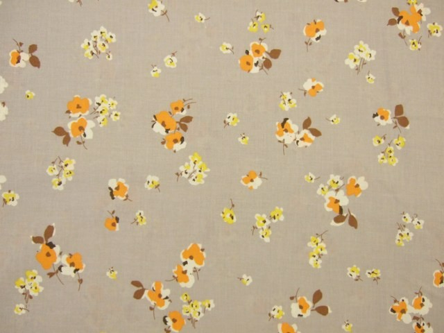 RETRO FLORAL CHIC  by PETER HORTON TEXTILES - ORANGE & YELLOW ON STONE -