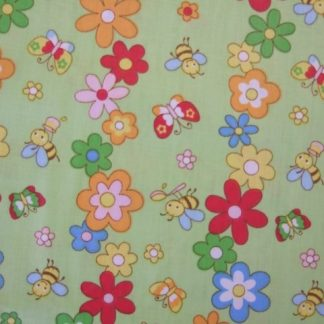 NURSERY BUTTERFLIES & BEES COTTON FABRIC- PASTEL ON LIME GREEN