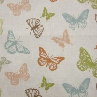 BUTTERFLIES.  HEAVIER WEIGHT FABRIC - CORAL -