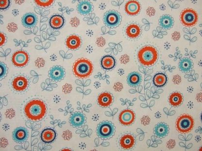 BLOCK PARTY by SANDY GERVAIS  for Moda  COTTON FABRIC . ORANGE ON CREAM