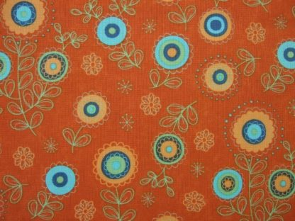 BLOCK PARTY by SANDY GERVAIS  for Moda. AQUA AND GREEN ON ORANGE