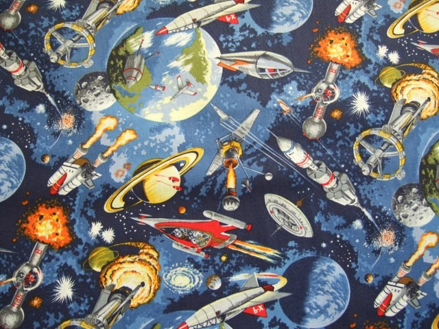 Space odyssey 100 cotton spaceships shan 39 s fabrics for Space themed material