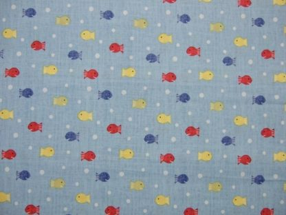 SHIPS AHOY FISHY FISHY, Springs Creative Products - 100% COTTON Blue