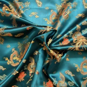 CHINESE BROCADE.  TURQUOISE