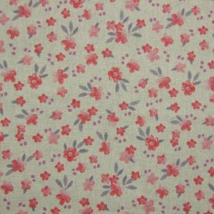 AMERIA FLORAL.  poly/cotton fabric DOUBLE WIDTH - BEIGE / PINK